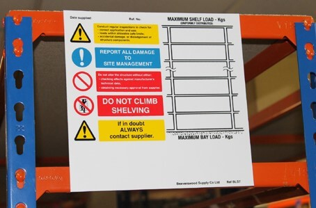 Horizontal Weight Notice for Shelving