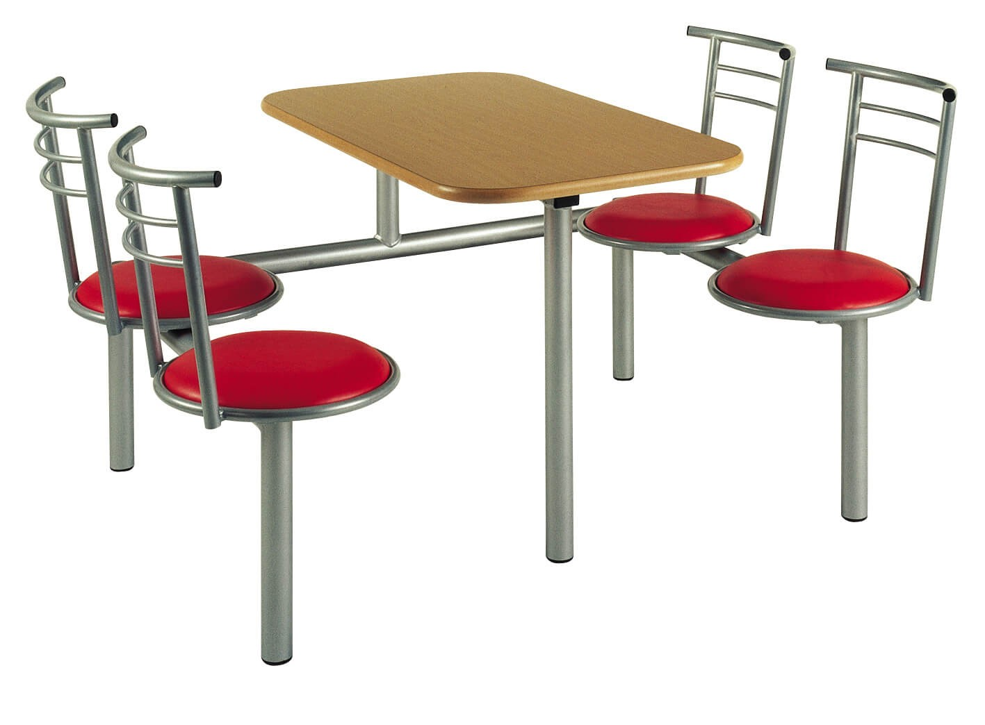 Canteen Table with Metal Frame & Upholstered Seats