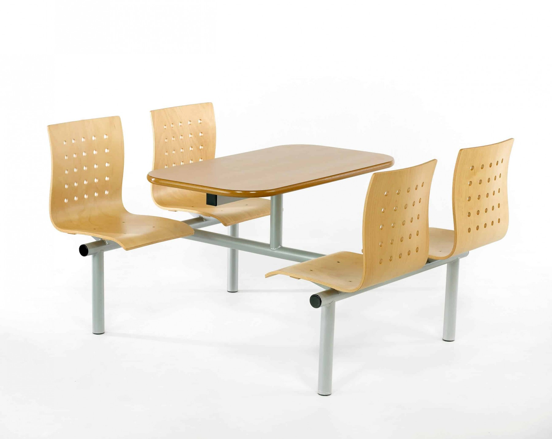 Canteen Table with Perforated Wooden Seats