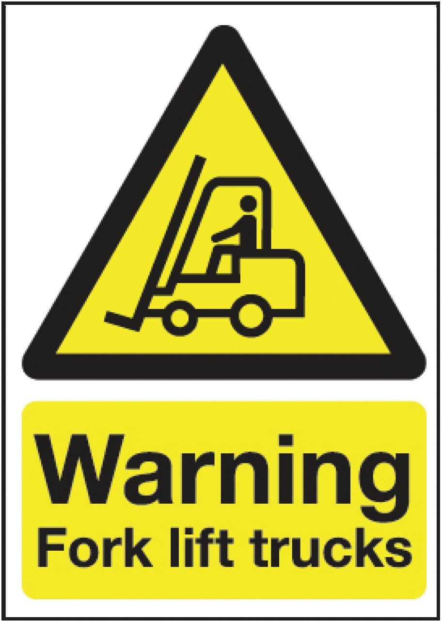 Warning fork lift truck