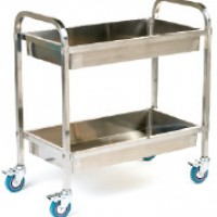 Deep shelved stainless steel tray trolley