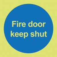 Photoluminescent fire door keep shut